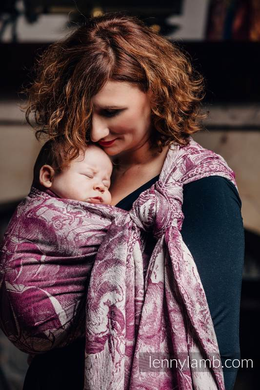 Baby Wrap, Jacquard Weave (60% combed cotton, 40% Merino wool) - GALLEONS BURGUNDY & CREAM - size S #babywearing