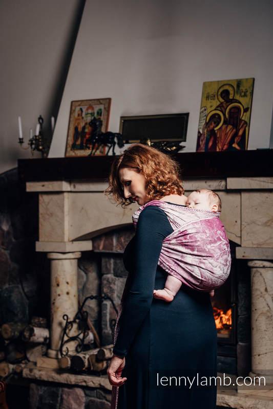 Żakardowa chusta do noszenia dzieci, 60% bawełna czesana, 40% wełna merino - GALEONY BORDO Z KREMEM - rozmiar L #babywearing