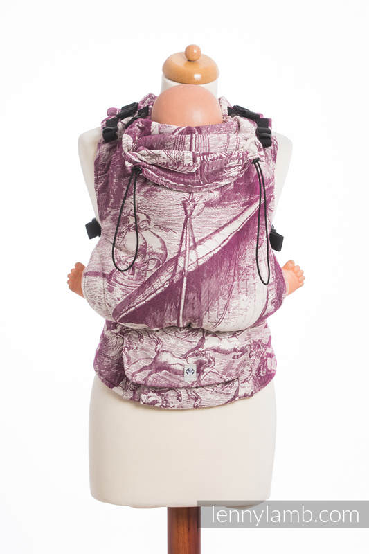 LennyUp Carrier, Standard Size, jacquard weave (60% combed cotton, 40% Merino wool) - wrap conversion from GALLEONS BURGUNDY & CREAM #babywearing