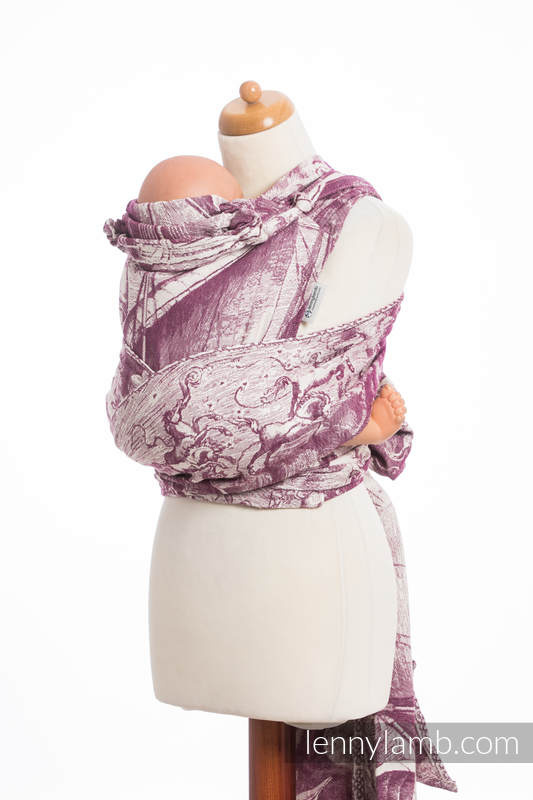 WRAP-TAI carrier Mini with hood/ jacquard twill / 60%  combed cotton, 40% Merino wool / GALLEONS BURGUNDY & CREAM #babywearing