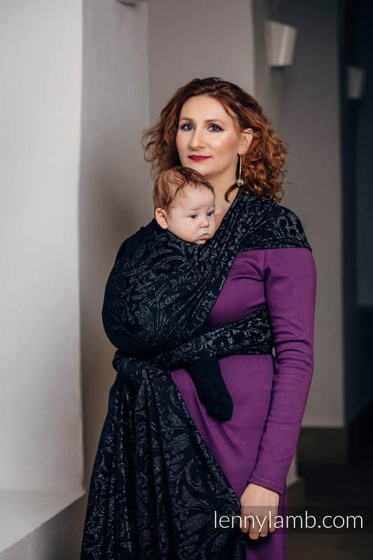 Baby Wrap, Jacquard Weave (96% cotton, 4% metallised yarn) - TWISTED LEAVES METAL & DUST - size L #babywearing
