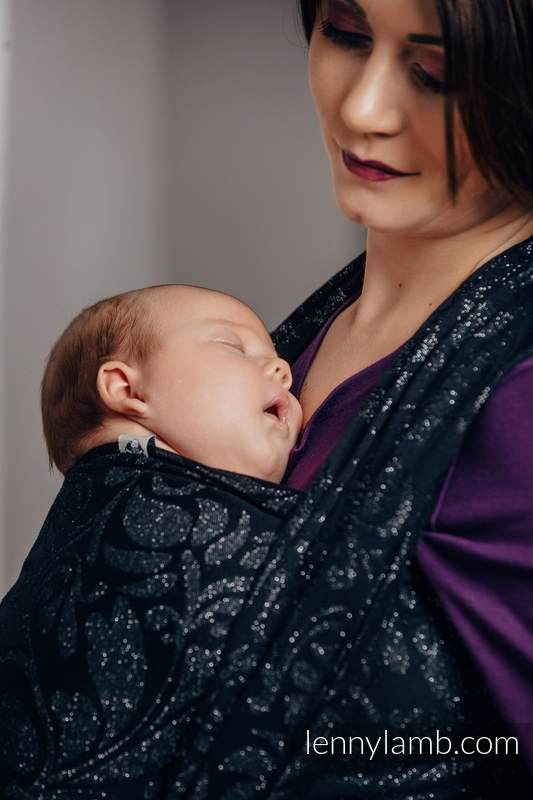 Baby Wrap, Jacquard Weave (96% cotton, 4% metallised yarn) - TWISTED LEAVES METAL & DUST - size S #babywearing