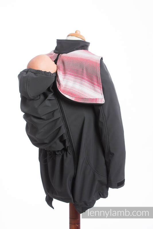 Babywearing Coat - Softshell - Charcoal with Little Herringbone Elegance - size 6XL #babywearing