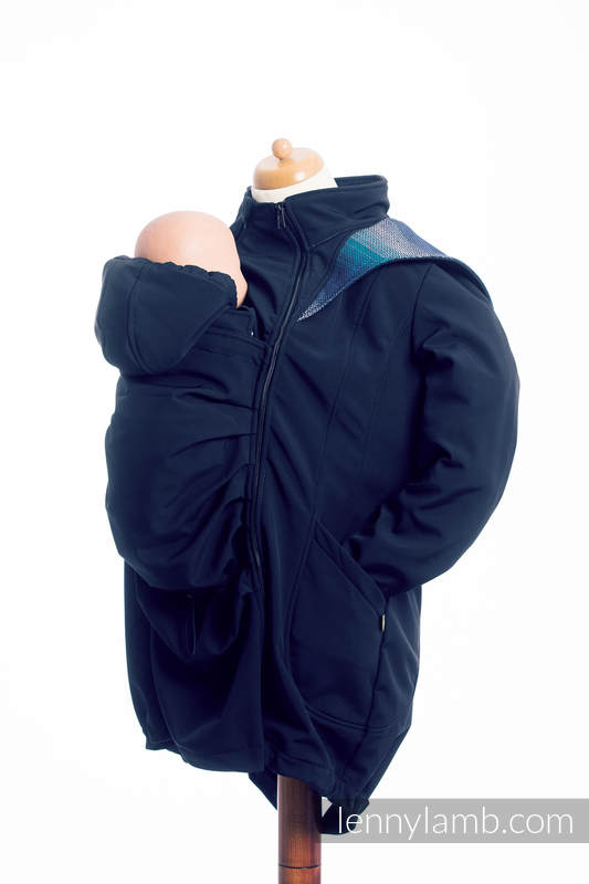 Babywearing Coat - Softshell - Navy Blue with Little Herringbone Illusion - size XL #babywearing