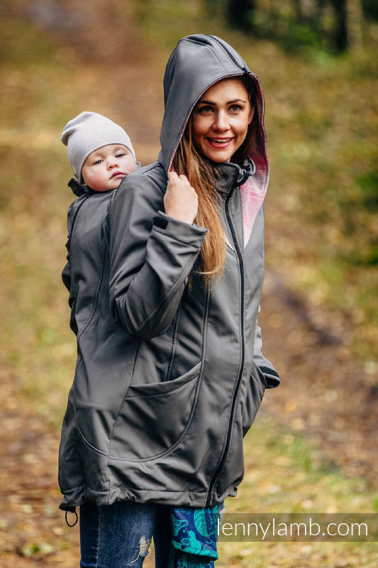 Tragejacke - Softshell - Grafitgrau mit Little Herringbone Elegance - size 6XL #babywearing