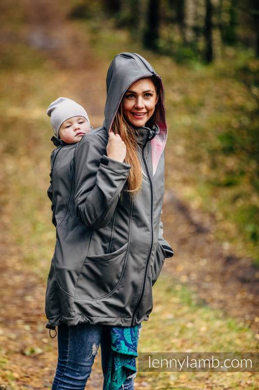 Babywearing Coat - Softshell - Charcoal with Little Herringbone Elegance - size 3XL #babywearing