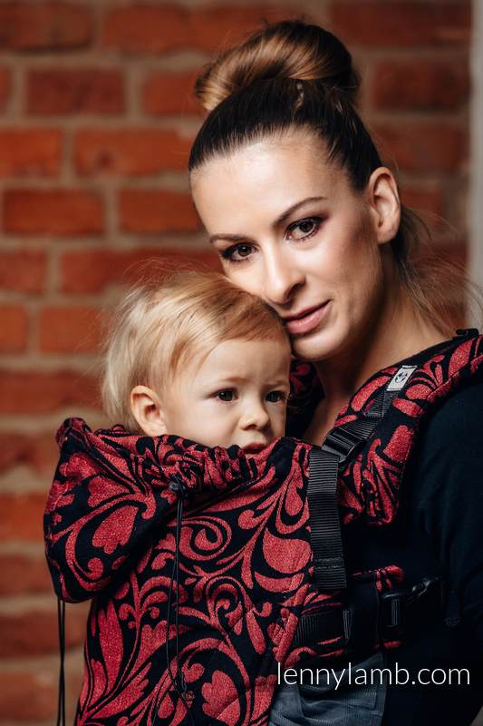 Ergonomic Carrier, Baby Size, jacquard weave 60% cotton 28% linen 12% tussah silk - wrap conversion from TWISTED LEAVES - PINCH OF CHILLI, Second Generation #babywearing