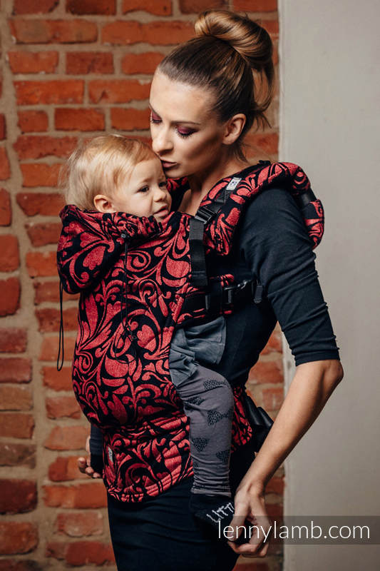 Ergonomic Carrier, Toddler Size, jacquard weave 60% cotton 28% linen 12% tussah silk - wrap conversion from TWISTED LEAVES - PINCH OF CHILLI, Second Generation #babywearing