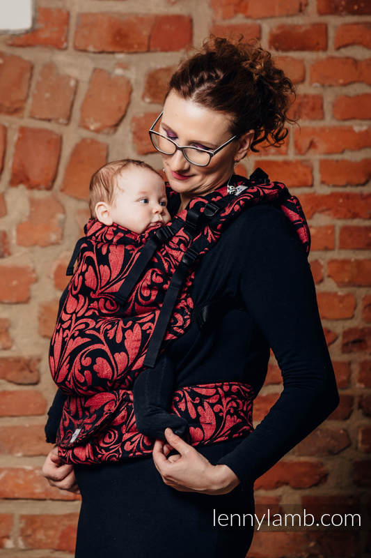 LennyUp Carrier, Standard Size, jacquard weave, 60% cotton, 28% linen 12% tussah silk - wrap conversion from TWISTED LEAVES - PINCH OF CHILLI #babywearing