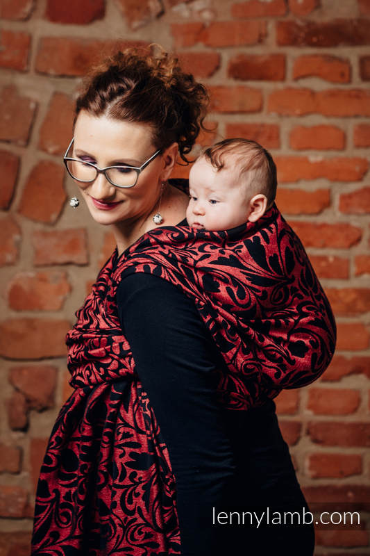 Baby Wrap, Jacquard Weave (60% cotton 28% linen 12% tussah silk) - TWISTED LEAVES - PINCH OF CHILLI - size L #babywearing