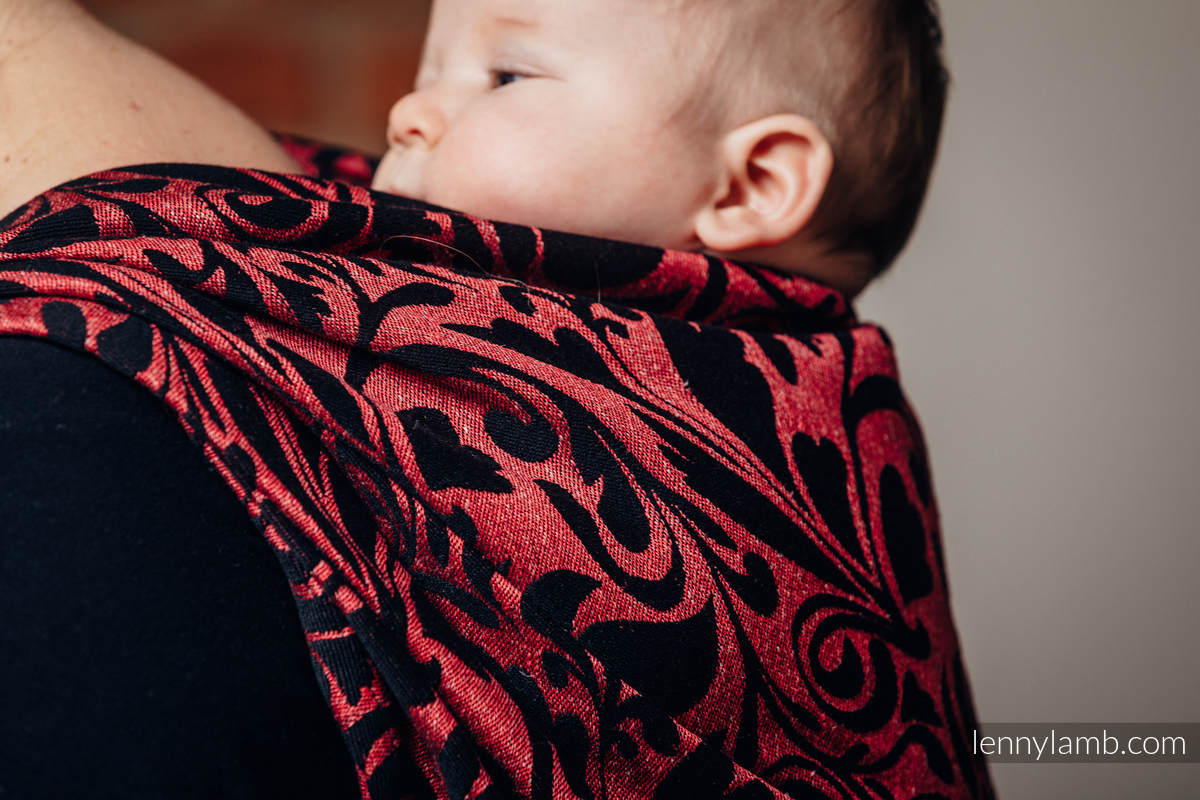 Baby Wrap, Jacquard Weave (60% cotton 28% linen 12% tussah silk) - TWISTED LEAVES - PINCH OF CHILLI - size S #babywearing