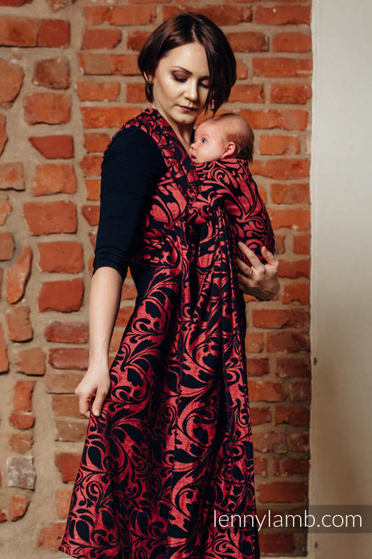 Baby Wrap, Jacquard Weave (60% cotton 28% linen 12% tussah silk) - TWISTED LEAVES - PINCH OF CHILLI - size M #babywearing