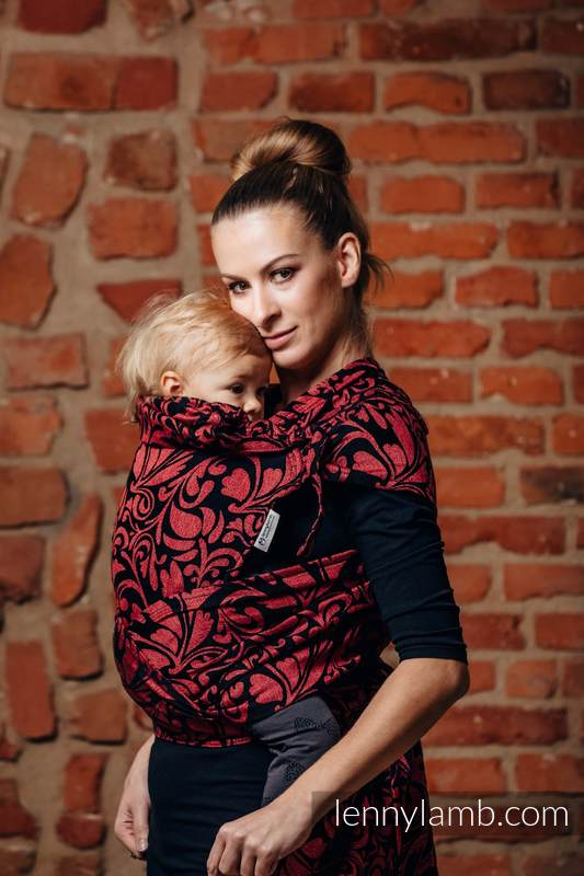 WRAP-TAI carrier Toddler with hood/ jacquard twill / 60% cotton 28% linen 12% tussah silk / TWISTED LEAVES - PINCH OF CHILLI #babywearing