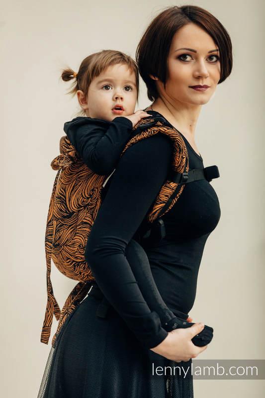 Lenny Buckle Onbuhimo baby carrier, standard size, jacquard weave (50% cotton, 50% linen) - GOLDEN RAPUNZEL #babywearing