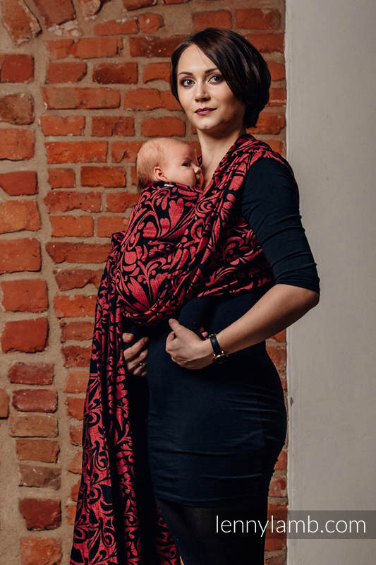 Baby Wrap, Jacquard Weave (60% cotton 28% linen 12% tussah silk) - TWISTED LEAVES - PINCH OF CHILLI - size XL #babywearing