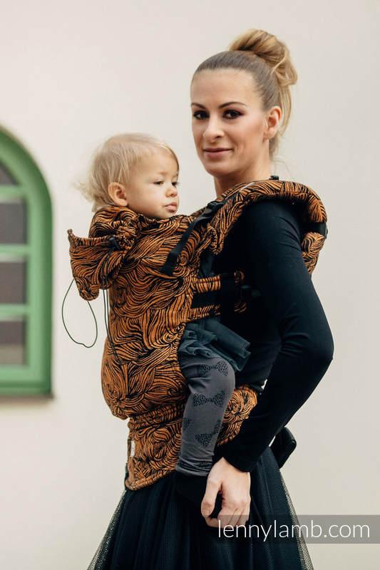 Ergonomic Carrier, Baby Size, jacquard weave 50% cotton 50% linen - GOLDEN RAPUNZEL, Second Generation #babywearing