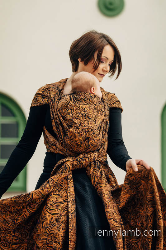 Baby Wrap, Jacquard Weave (50% cotton, 50% linen) - GOLDEN RAPUNZEL - size XL #babywearing
