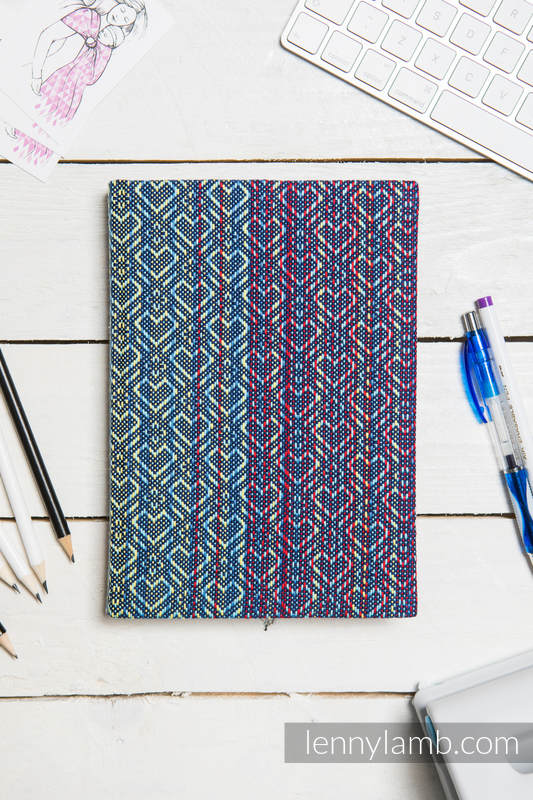 Calendar 2018 with jacquard fabric hard cover - size A4 - BIG LOVE - SAPPHIRE #babywearing