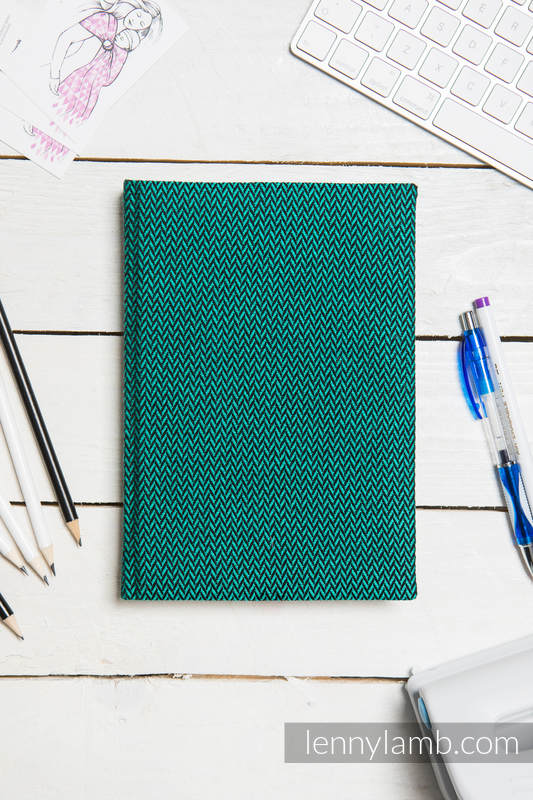 Calendar 2018 with jacquard fabric hard cover - size A4 - EMERALD #babywearing