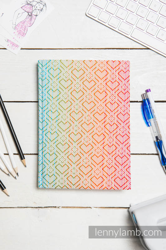 Calendar 2018 with jacquard fabric hard cover - size A4 - BIG LOVE - RAINBOW #babywearing
