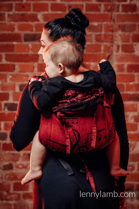 Lenny Buckle Onbuhimo, toddler size, jacquard weave (100% cotton) - Wrap conversion from SYMPHONY FLAMENCO #babywearing