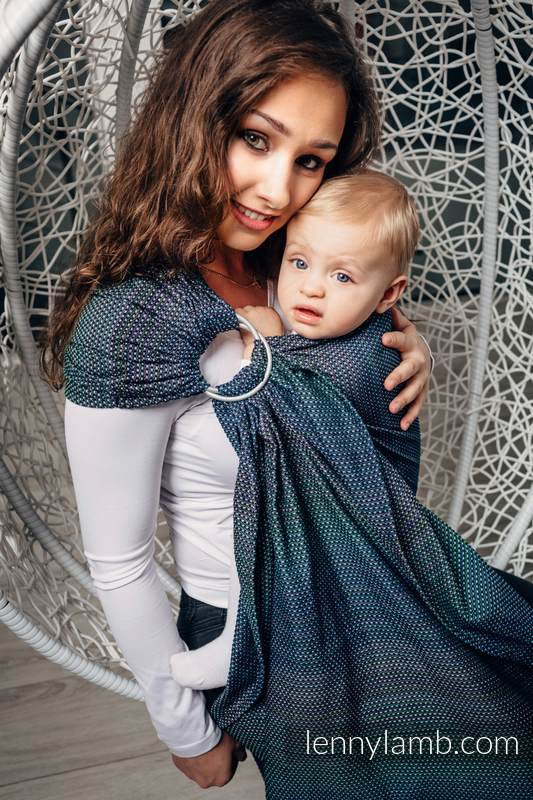 Ringsling, Pearl Weave (100% cotton) - with gathered shoulder - LITTLE PEARL - CHAMELEON - long 2.1m #babywearing