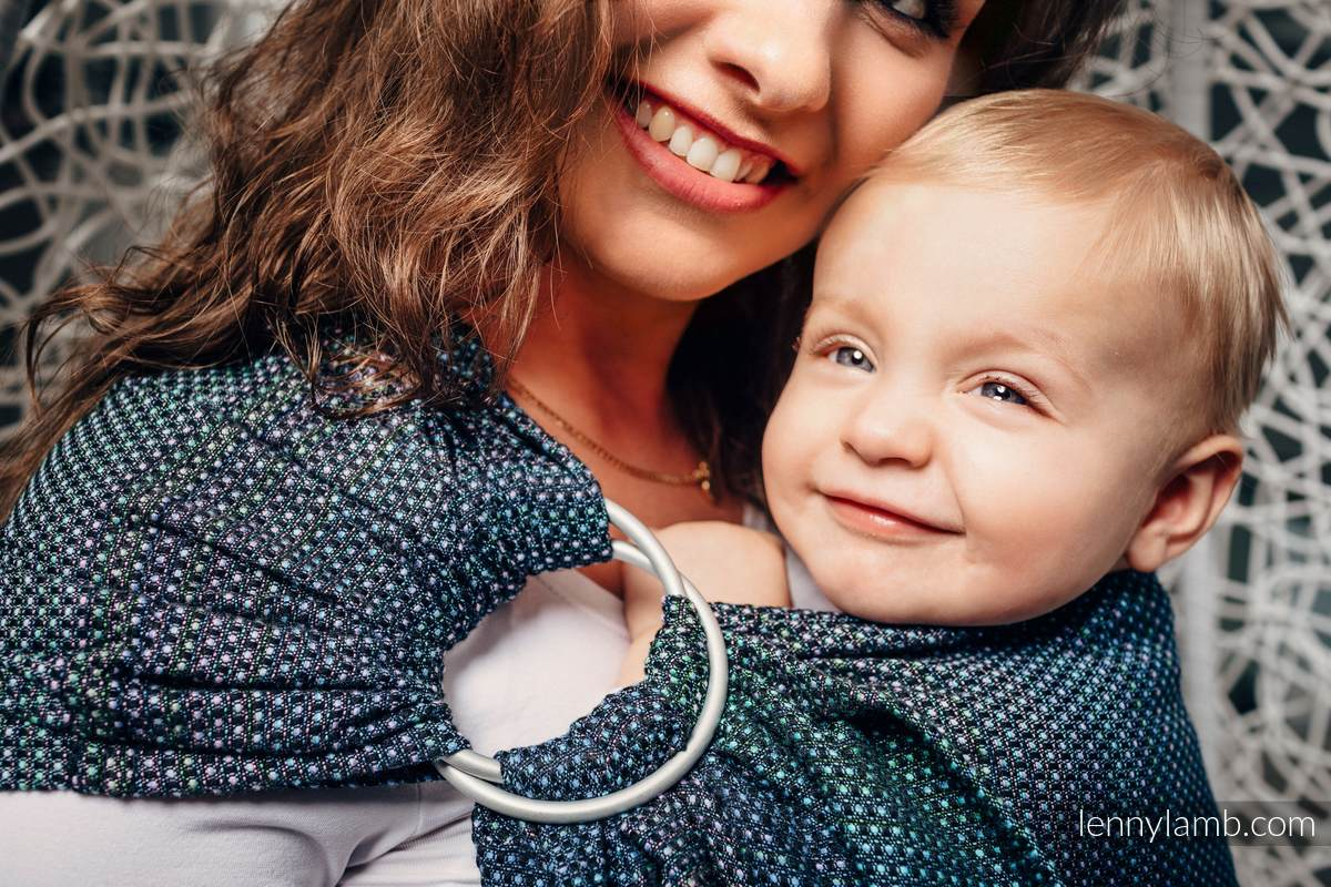Bandolera de anillas, tejido Jacquard (100% algodón) - LITTLE PEARL CHAMELEON - standard 1.8m #babywearing
