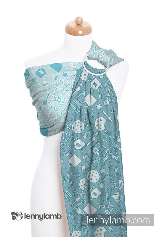Ringsling, Jacquard Weave (100% cotton) - with gathered shoulder - COOKIES & DREAMS BY ALMA - long 2.1m #babywearing