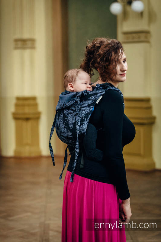 Lenny Buckle Onbuhimo baby carrier, toddler size, jacquard weave (96% cotton, 4% metallised yarn) - QUEEN OF THE NIGHT #babywearing