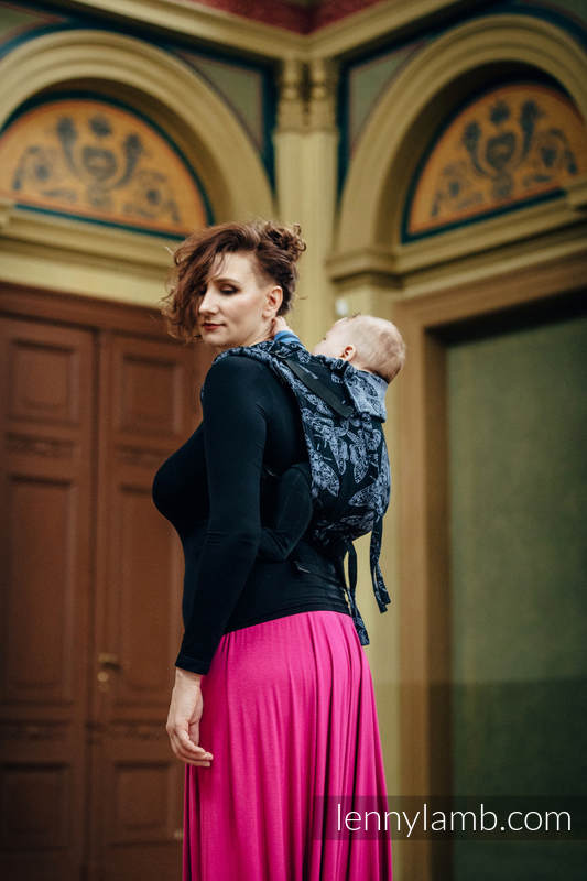 Onbuhimo SAD LennyLamb, talla estándar, jacquard (96% algodón, 4% hilo metalizado) - QUEEN OF THE NIGHT #babywearing