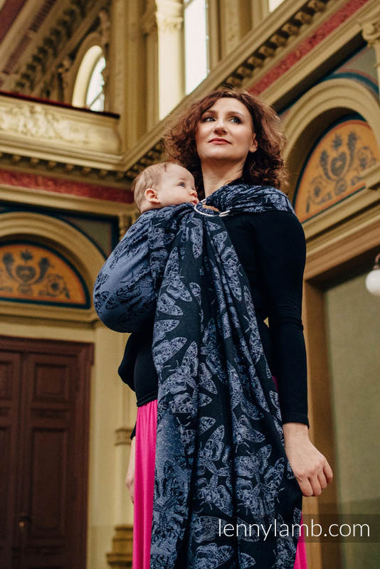 Ringsling, Jacquard Weave (96% cotton, 4% metallised yarn) - QUEEN OF THE NIGHT - standard 1.8m #babywearing