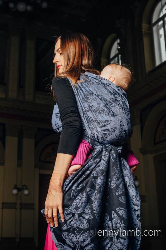 Fular, tejido jacquard (96% algodón, 4% hilo metalizado) - QUEEN OF THE NIGHT - talla XS #babywearing