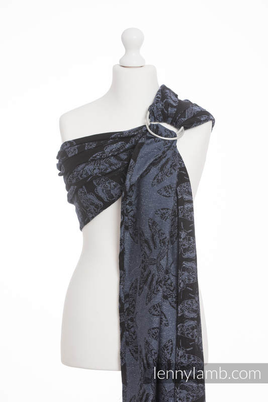 Ringsling, Jacquard Weave (96% cotton, 4% metallised yarn) - with gathered shoulder - QUEEN OF THE NIGHT - standard 1.8m #babywearing