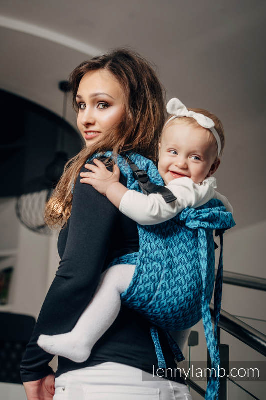 Lenny Buckle Onbuhimo baby carrier, standard size, jacquard weave (100% cotton) - COULTER NAVY BLUE & TURQUOISE #babywearing