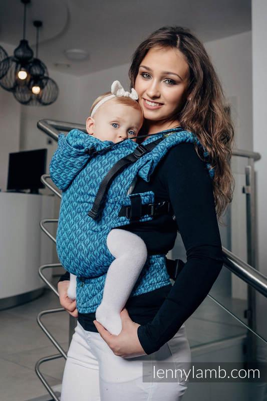 Nosidełko Ergonomiczne z tkaniny żakardowej 100% bawełna , Baby Size, COULTERA GRANAT Z TURKUSEM- Druga Generacja #babywearing