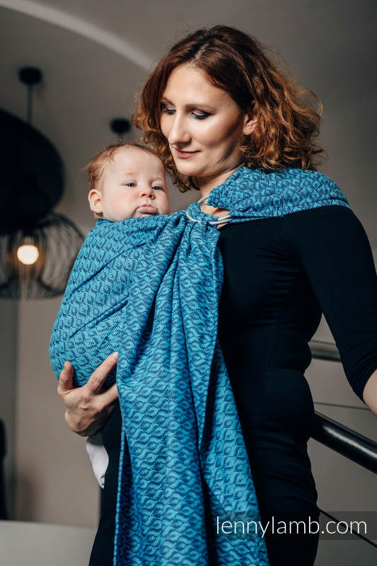 Ringsling, Jacquard Weave (100% cotton) - COULTER NAVY BLUE & TURQUOISE - long 2.1m #babywearing