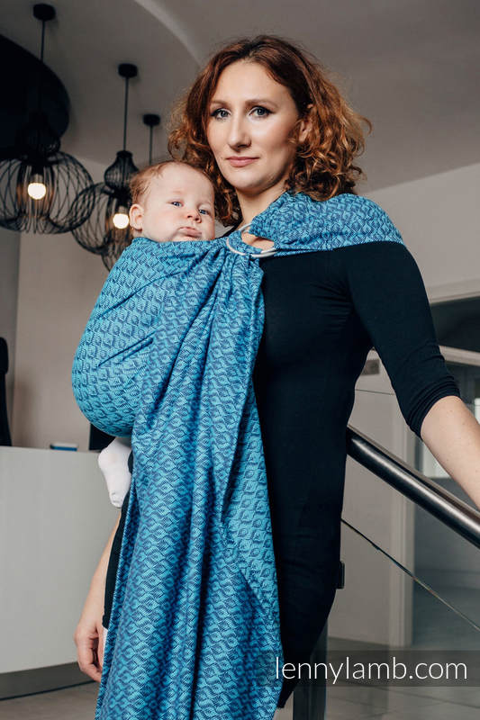 Ringsling, Jacquard Weave (100% cotton) - with gathered shoulder - COULTER NAVY BLUE & TURQUOISE - long 2.1m #babywearing