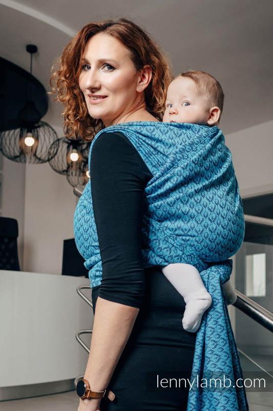 Żakardowa chusta do noszenia dzieci, bawełna - COULTERA GRANAT Z TURKUSEM - rozmiar S #babywearing