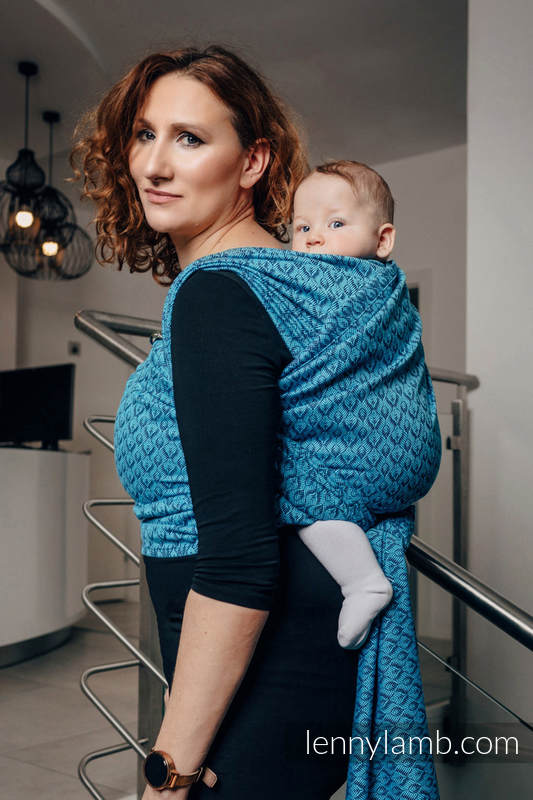 Baby Wrap, Jacquard Weave (100% cotton) - COULTER NAVY BLUE & TURQUOISE  - size L #babywearing