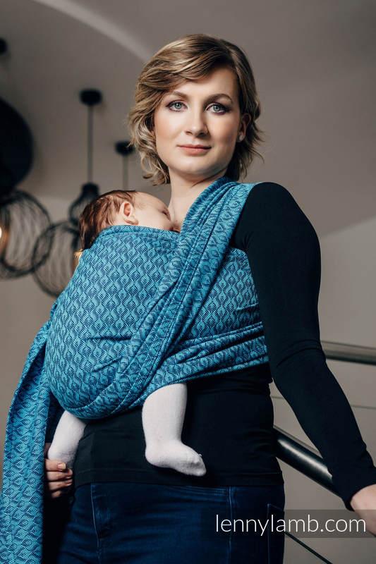 Żakardowa chusta do noszenia dzieci, bawełna - COULTERA GRANAT Z TURKUSEM - rozmiar XL #babywearing