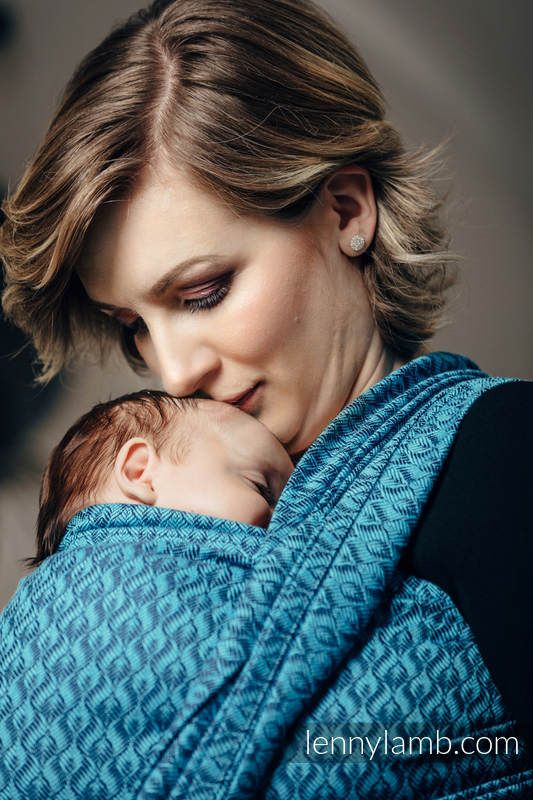 Baby Wrap, Jacquard Weave (100% cotton) - COULTER NAVY BLUE & TURQUOISE  - size XS #babywearing