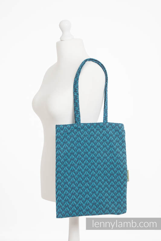 Torba na zakupy z materiału chustowego, (100% bawełna) - COULTERA GRANAT Z TURKUSEM #babywearing