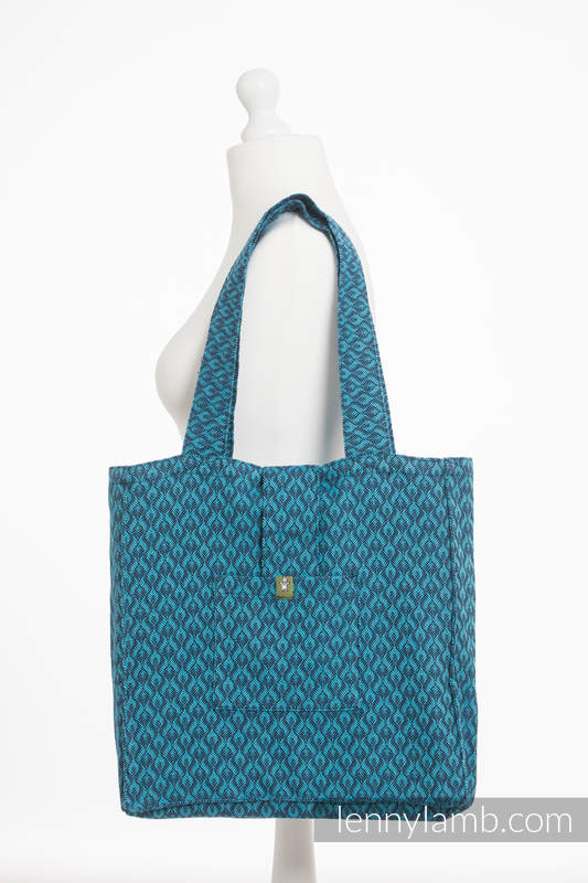 Shoulder bag made of wrap fabric (100% cotton) - COULTER NAVY BLUE & TURQUOISE - standard size 37cmx37cm #babywearing