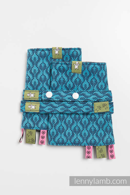 Drool Pads & Reach Straps Set, (60% cotton, 40% polyester) - COULTER NAVY BLUE & TURQUOISE #babywearing