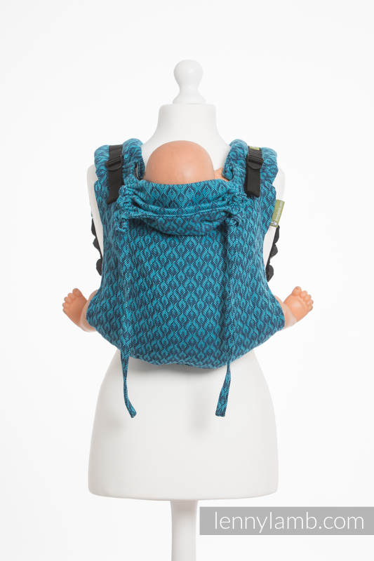 Lenny Buckle Onbuhimo baby carrier, toddler size, jacquard weave (100% cotton) - COULTER NAVY BLUE & TURQUOISE #babywearing