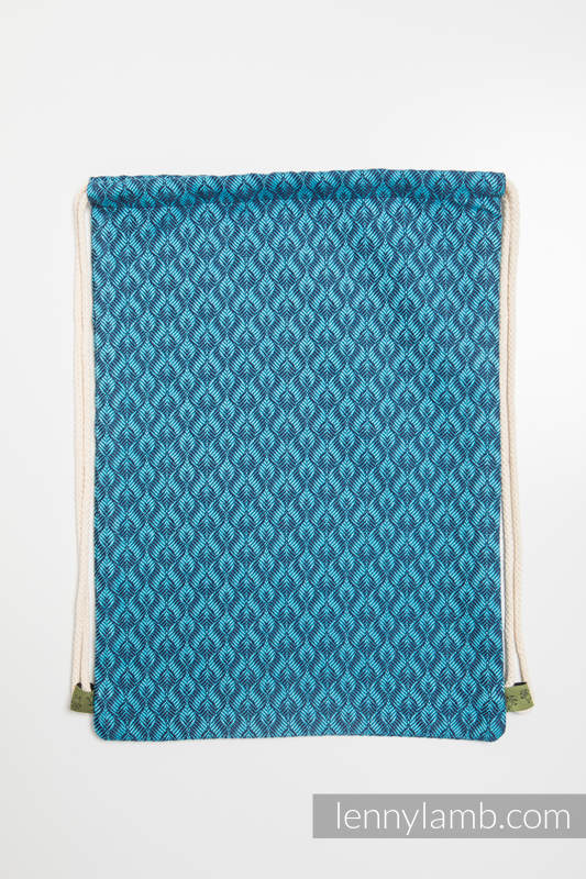 Sackpack made of wrap fabric (100% cotton) - COULTER NAVY BLUE & TURQUOISE - standard size 32cmx43cm #babywearing