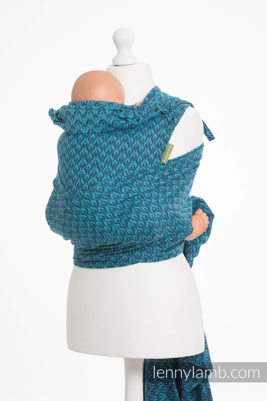 Nosidełko dla dzieci WRAP-TAI MINI, bawełna, splot żakardowy, z kapturkiem, COULTERA GRANAT Z TURKUSEM #babywearing