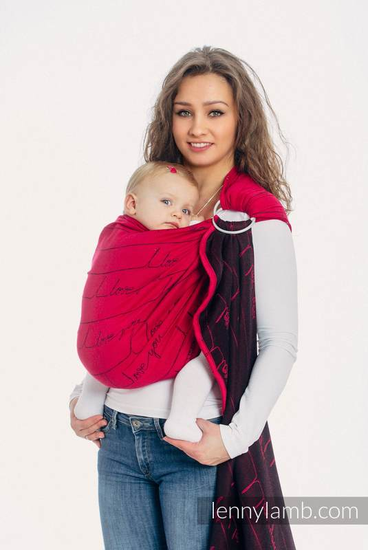 Ringsling, Jacquard Weave (100% cotton) - with gathered shoulder - I LOVE YOU - long 2.1m #babywearing