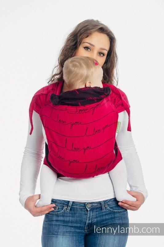 Nosidełko dla dzieci WRAP-TAI TODDLER, bawełna, splot żakardowy, z kapturkiem, I LOVE YOU #babywearing