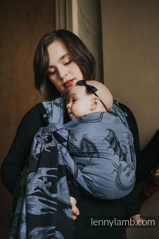 Fular, tejido jacquard (74% algodón, 26% seda) - MOON DRAGON - talla XS #babywearing